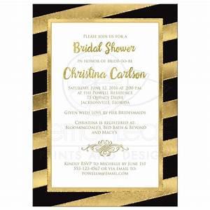 Bridal shower invitation black gold stripes faux for Black and gold wedding shower invitations
