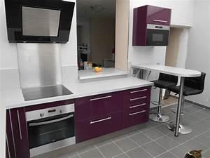 cuisine couleur aubergine avec snack bar photo 2 3 With cuisine avec snack bar