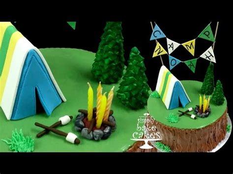 camping themed birthday cake tutorial youtube