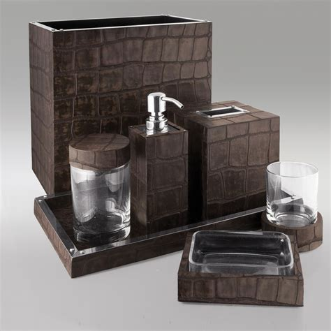 dark brown alligator embossed leather bath by gail deloach