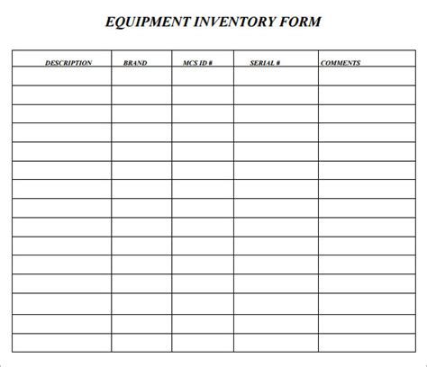 sample asset inventory template   documents