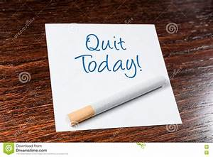 Quit Smoking Today Reminder With Cigarette On Wooden Shelf ...