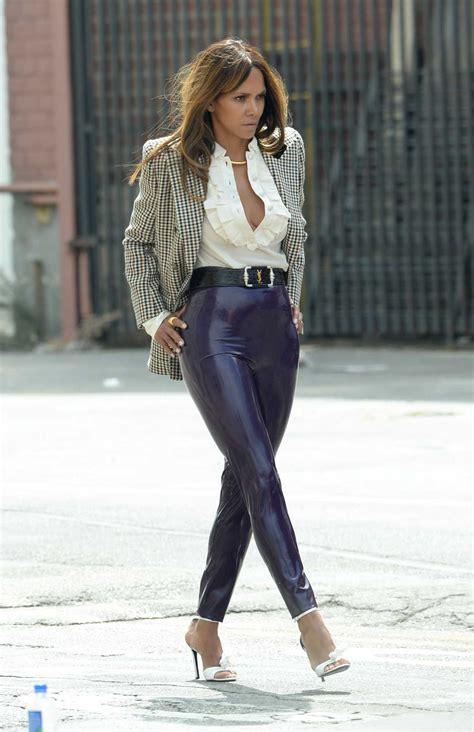 halle berry   purple pants   set   photoshoot