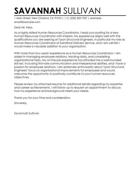 Hr Coordinator Resume Cover Letter by Best Hr Coordinator Cover Letter Exles Livecareer