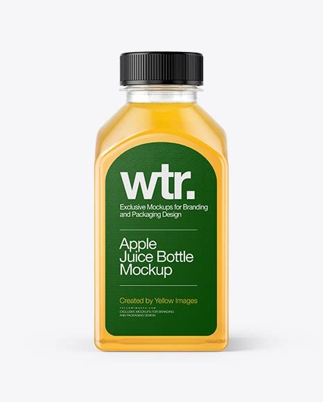 This is a real shoot of the bottle so it is photorealistic and perfect for your clients. Square Apple Juice Bottle PSD Mockup