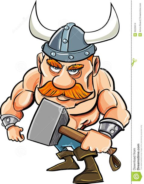 Cartoon Viking With A Big Hammer Stock Images - Image ...