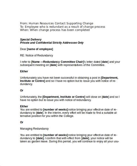 sample redundancy letter employee uk separation