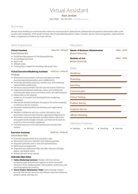 virtual assistant resume samples  templates visualcv
