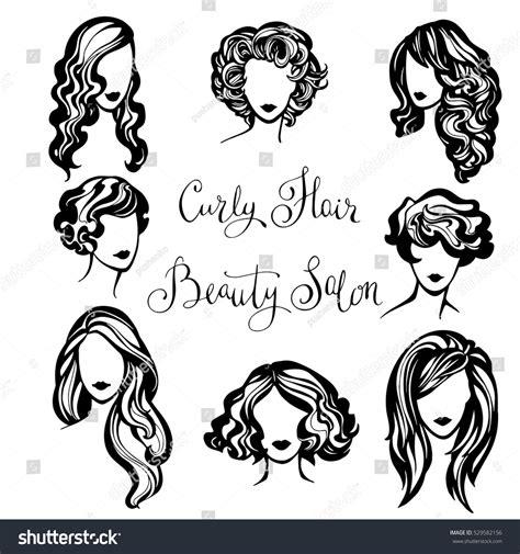 vector set stylized logo wavy womens stock vector