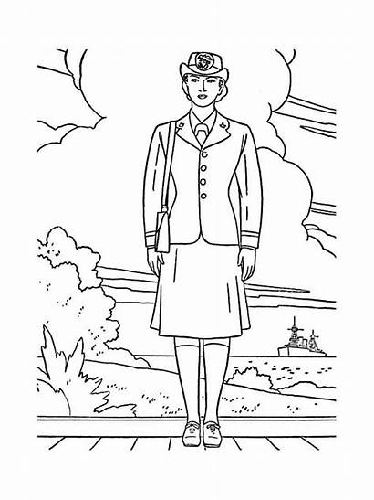 Coloring Veterans Pages Uniform Female Navy Officer
