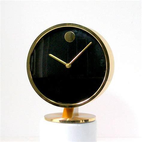 Movado Brass Desk Clock by Vintage Mid Century Modern Howard Miller Horwitt Movado