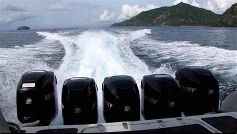 Fast Boat With Engine by 5 Mercury Outboard Motors On The Sea Marlin Fast Boat
