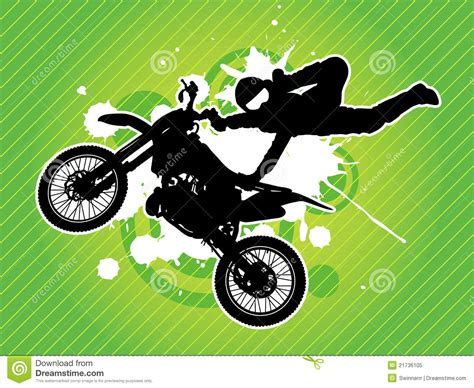 Motorcycle And Biker Silhouette. Vector Royalty Free Stock