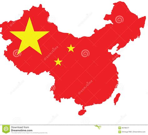 China Flag Map Vector Sketch Up Stock Vector