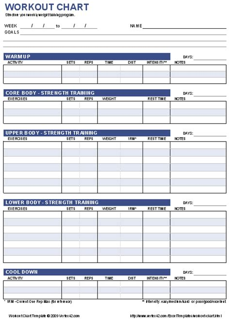 workout program template free workout chart printable weight lifting chart template
