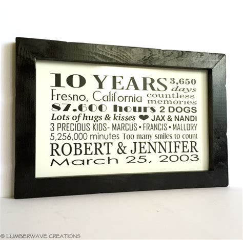 10 year anniversary gift for 10 year anniversary gift personalized anniversary gift for him