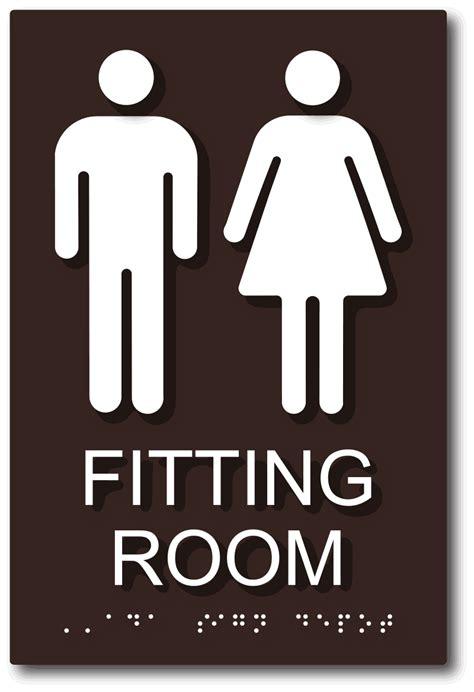 unisex fitting room sign  male  female symbols