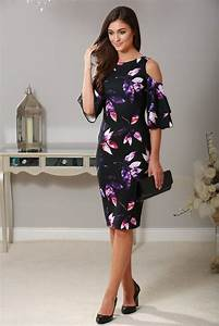 lana black floral cold shoulder dress wedding guest With cold shoulder dress for wedding guest