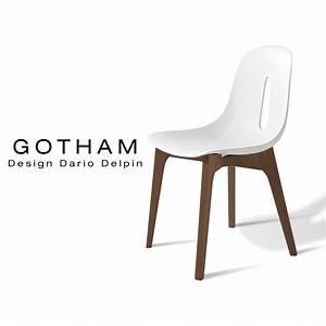 Chaise Bois Design : chaise design gotham assise coque plastique bicolore pi tement bois vernis noyer ~ Teatrodelosmanantiales.com Idées de Décoration