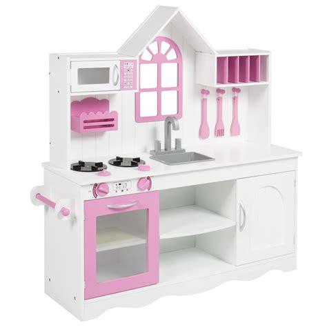 bcp kids wood kitchen toy toddler pretend play set solid wood construction white ebay