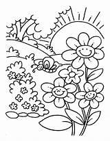 Coloring Garden Flower Sunny Popular sketch template