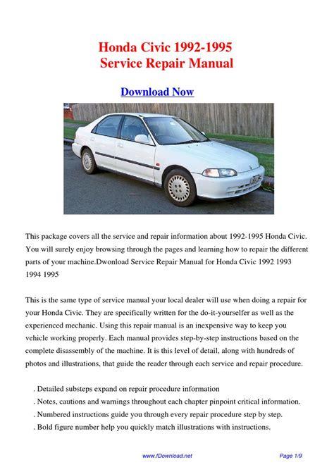 how to download repair manuals 1995 honda del sol on board diagnostic system honda civic 1992 1995 repair manual by fu juan issuu