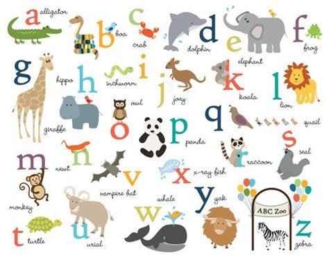abc animals  print ceramic nursery prints kids