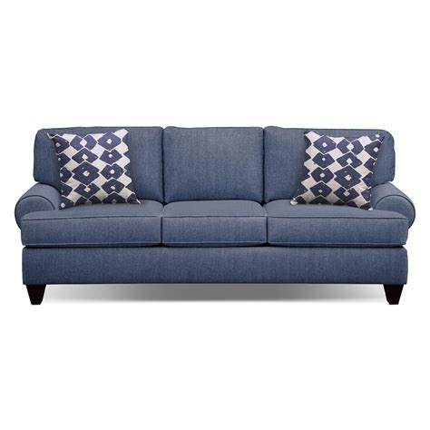 value city furniture sleeper sofa bailey blue 91 quot innerspring sleeper sofa value city