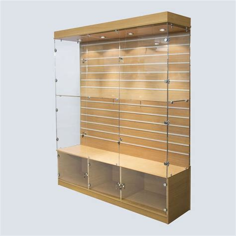 how to finish kitchen cabinets a large wood finish display cabinet with a slat wall back 7249