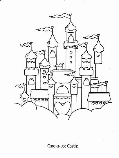 Coloring Care Bears Pages Castle Printable Princess