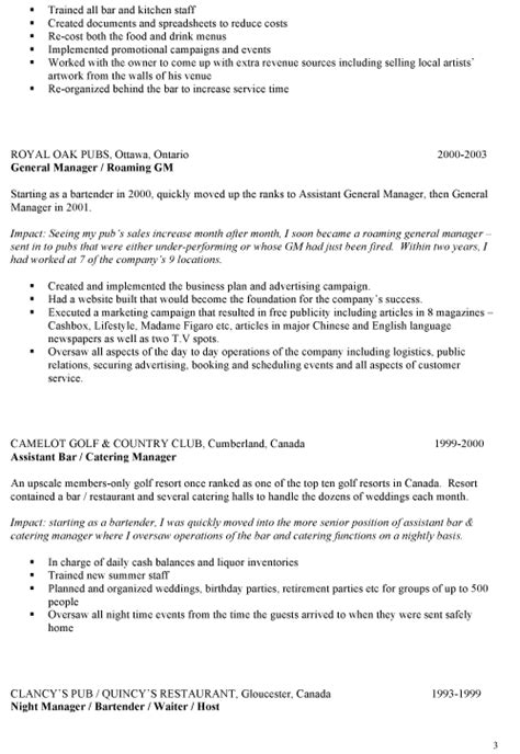 Bar Manager Resume Skills by Use This Bar Manager Resume For Ideas On Writing Your