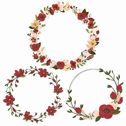 Christmas Clipart Wreath Floral Flower Wreaths Flowers