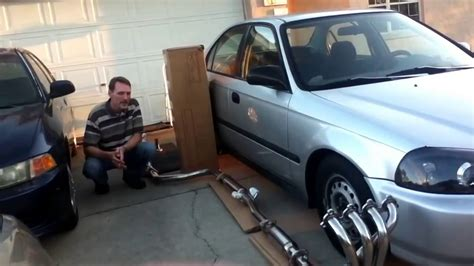 stainless steel exhaust   honda civic youtube