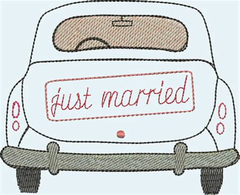 stickapplikationen stickdatei  married auto ein
