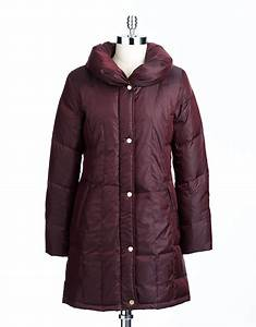 Ralph Coat Size Chart Ellen Tracy Stand Collar Puffer Coat In Red Burgandy Lyst
