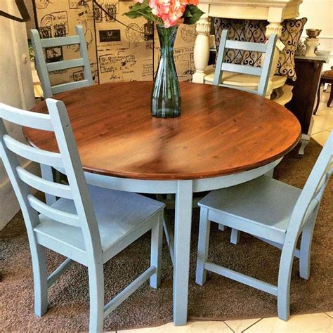 painted dining chairs table and chair set in halcyon blue paint and java