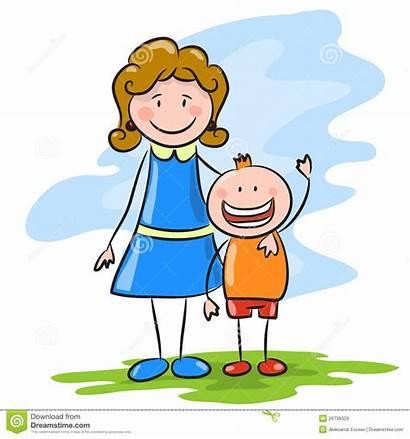 Madre Fumetto Cartoon Mother Son Happy Figlio