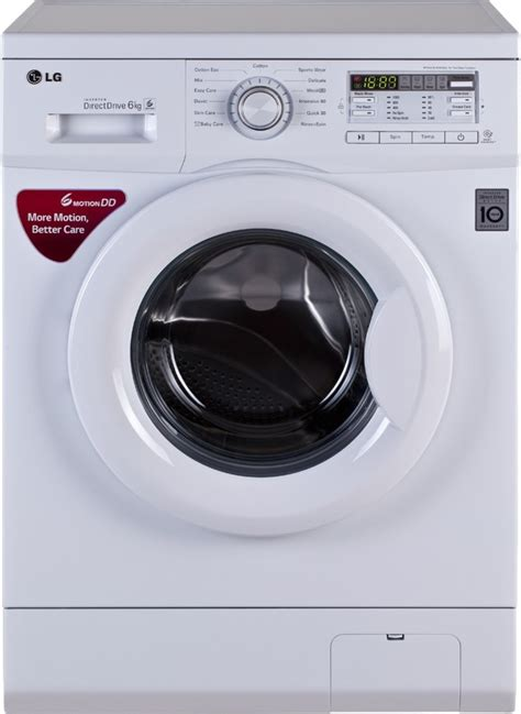lg 6 kg fully automatic front load washing machine white
