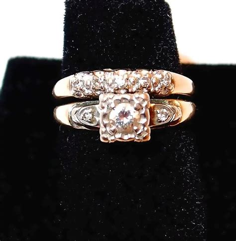 1940s yellow gold wedding ring with diamonds engagement ring and bangles and