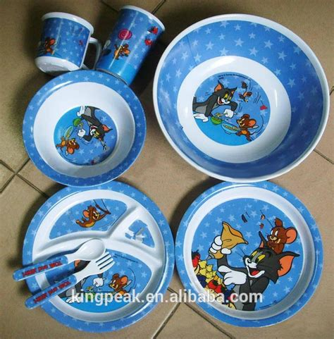 melamine dinnerware children cute selling plate bowls fork tray serving childrens baby spoon