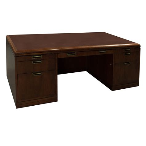what is a double pedestal desk jofco used veneer double pedestal desk with credenza