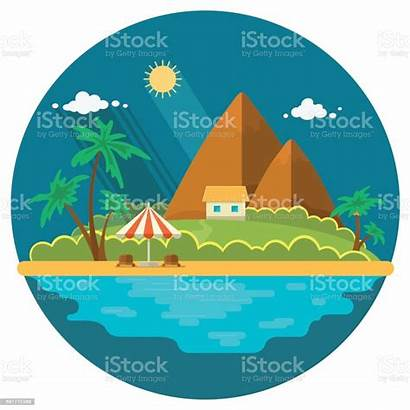 Island Summer Paradise Ocean Vector Landscape Illustration