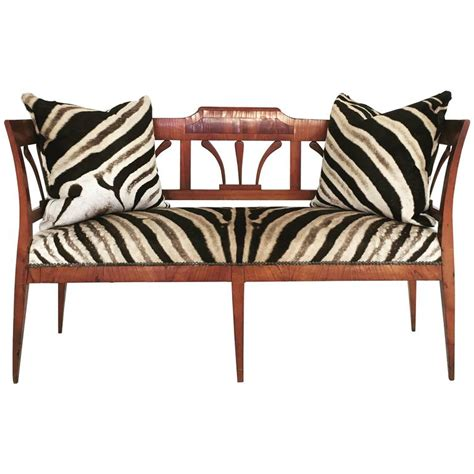 Zebra Settee by 19th Century Fruitwood And Rosewood Settee In Zebra Hide