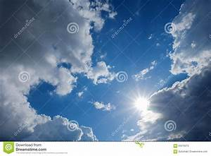 Clear Weather Sky, Sun On Blue Sky With Clouds, Sun Rays ...