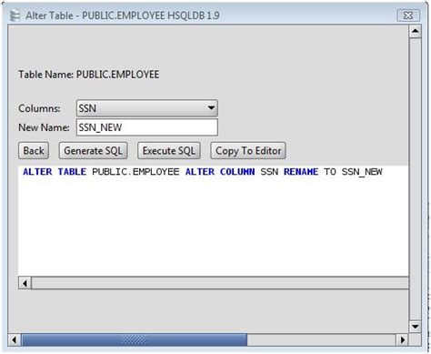 alter table alter column hsqldb rename a column on an hsqldb database table using