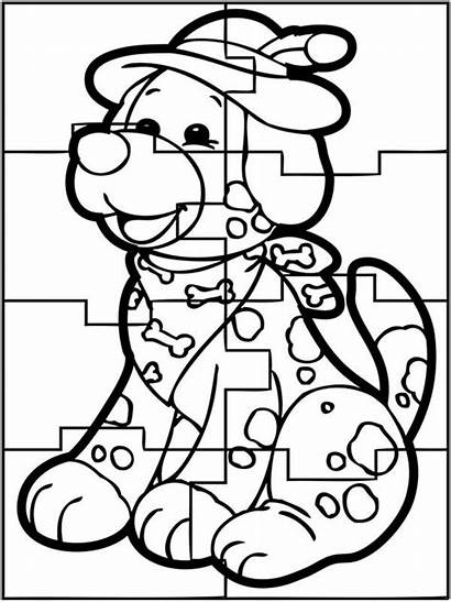 Coloring Dog Puzzles Sheet Sky