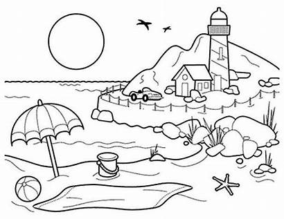 Beach Coloring Pages Estate Cartoon Simple Drawing