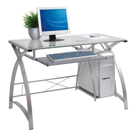 small glass and metal computer desk contemporary computer desks for home office