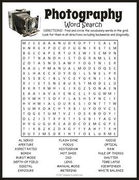 Photography Word Search Puzzle  Vocabulary Words, Early