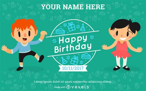 Kids Birthday Invitation Card Maker Editable design